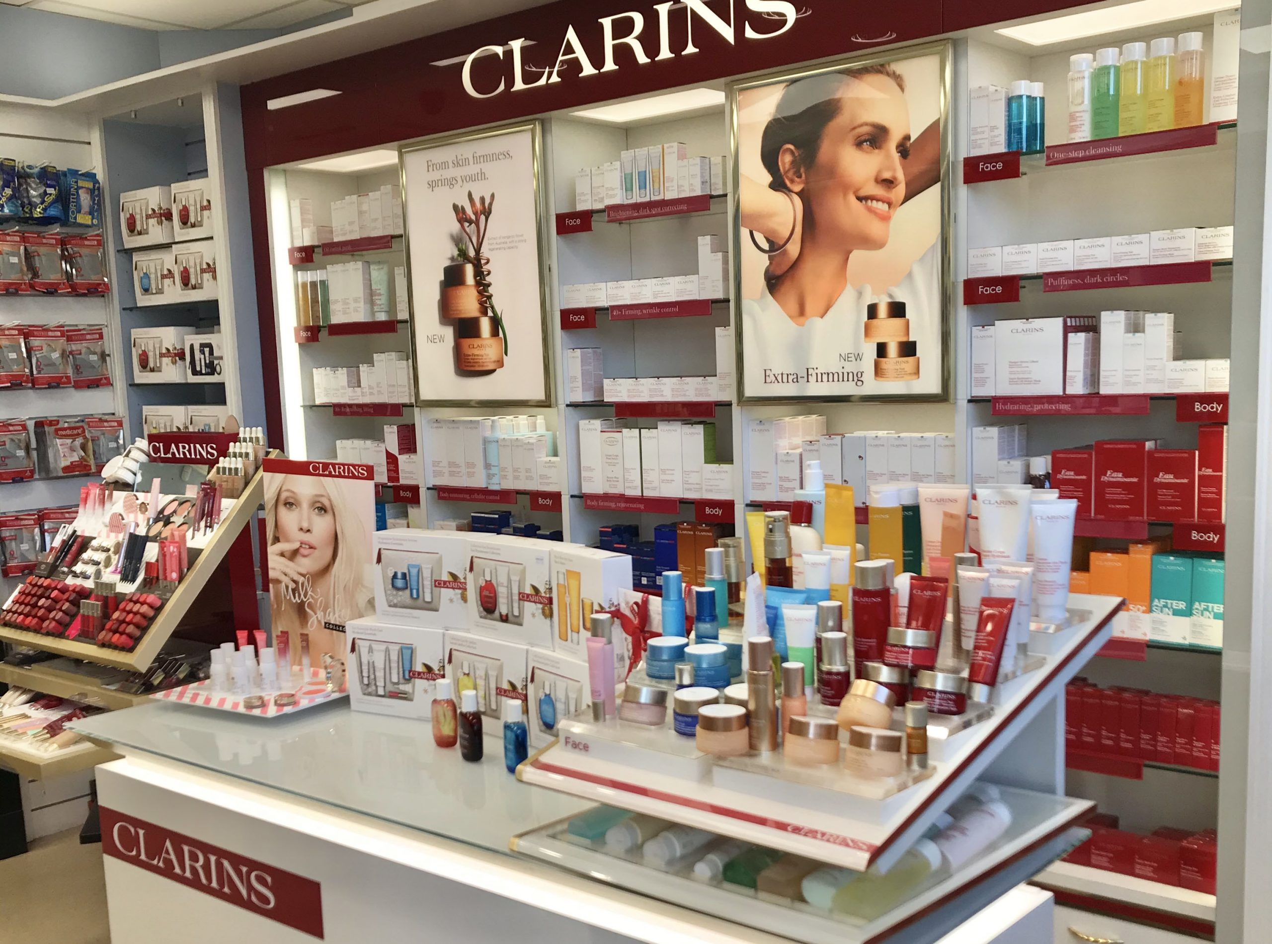 Clarins counter in pharmacy